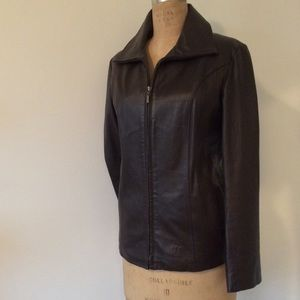 Leather Jacket by East 5th. Dark brown. Size XL.